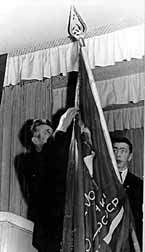The second Secretary of Gorky Regional Committee of CPSU A.F. Gorev fixes the order on the Banner of the school in 1966